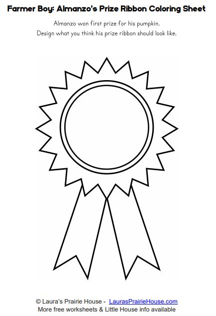 Farmer Boy: Almanzo's Prize Ribbon Design Worksheet