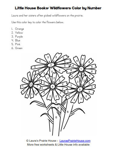 Little House Wildflowers Color by Number Worksheet