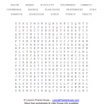 Little House Food and Recipes Word Search