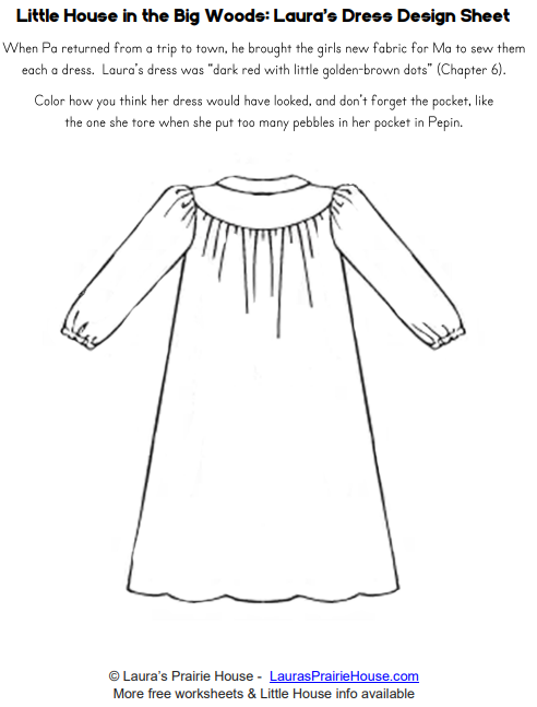 Laura's Dress Design Worksheet from Little House in the Big Woods