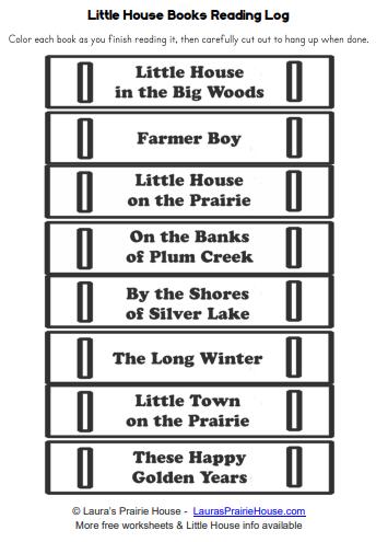 Little House Books Printable Reading Log