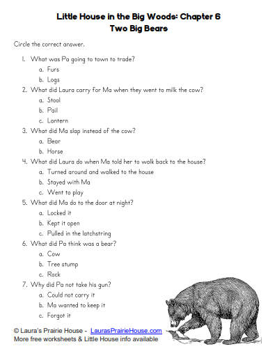 Chapter Six Two Big Bears Worksheet Little House in the Big Woods