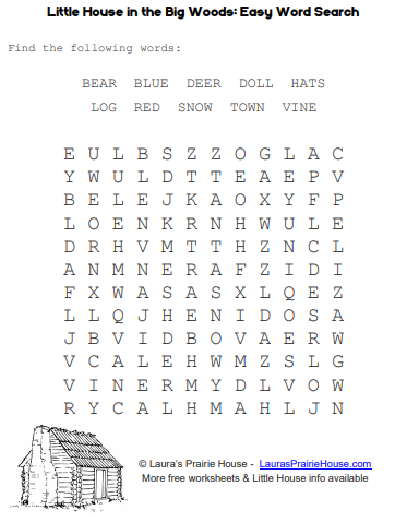 Little House in the Big Woods Easy Word Search