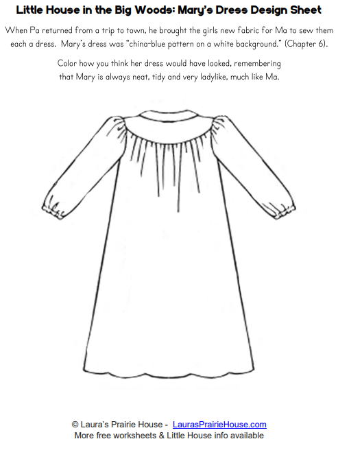 Mary's Dress Design Worksheet from Little House in the Big Woods