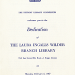 1967 Program Dedication for the Laura Ingalls Wilder Branch Library in Detroit
